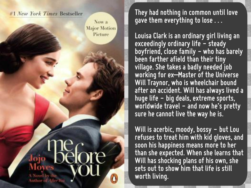 88936fb4b9d936 Me Before You by Jojo Moyes (Book Review) – Life and Other Disasters